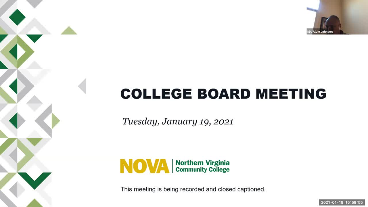 January 19, 2021 Northern Virginia Community College Board Meeting