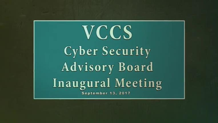 VCCS Cyber Security Advisory Board Inaugural Meeting