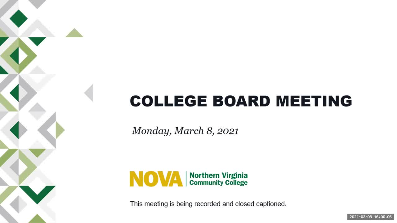 March 8, 2021 Northern Virginia Community College Board Meeting